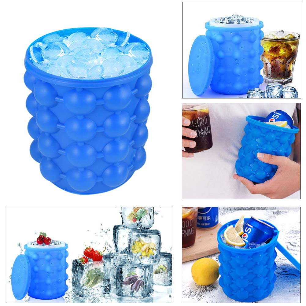 Ansblue Silicone Ice Bucket & Ice Mold with lid,Silicone Trays Molds - the Revolutionary Space Saving,Ice Cube Maker genie,cube barrel, Dual-Chamber, For Chilling Burbon Whiskey,Cocktail