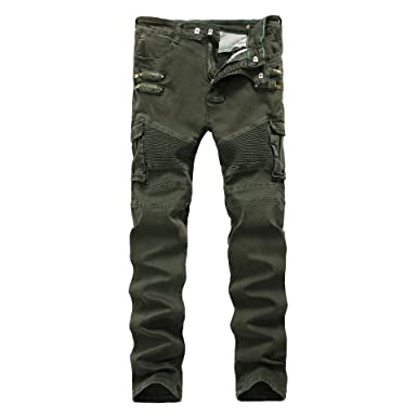 c9cb0a85f38 Image Unavailable. Image not available for. Colour  TieNew Men s Biker Skinny  Slim Fit Stretch Crinkle Cargo Pants Denim Jeans