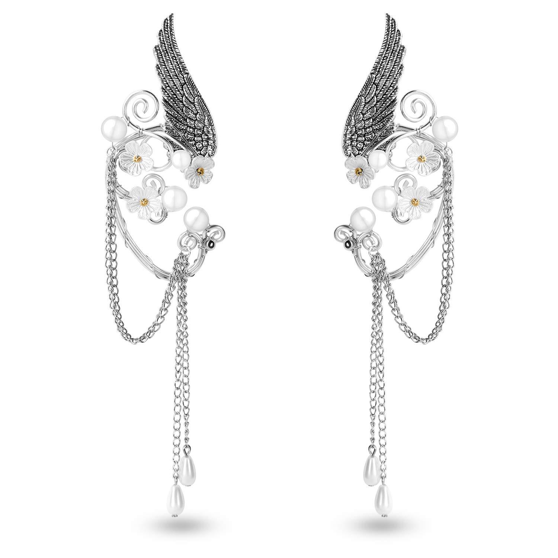 OwMell Elf Elven Ear Cuffs Non-Pierced Filigree Wrap Earrings Ear Cuffs for Women Bridal Wedding Handcraft Flowers Jewelry Threader Tassel Chain