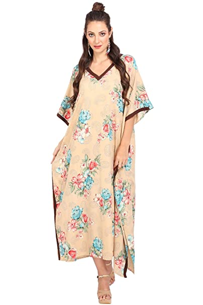 ae9a3d40ec44c7 Image Unavailable. Image not available for. Color  Kaftan Tunic Kimono Dress  Ladies Summer Women Evening Maxi Party Plus Size ...