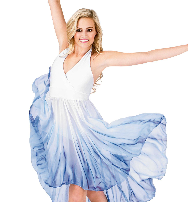 Adult Hi-Lo Halter Dress,WC202WBLL,White/Blue,Large