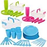 The Magic Toy Shop 31 Piece Plastic Picnic Camping Party Dinner Plate Mug Cutlery Set Storage Box