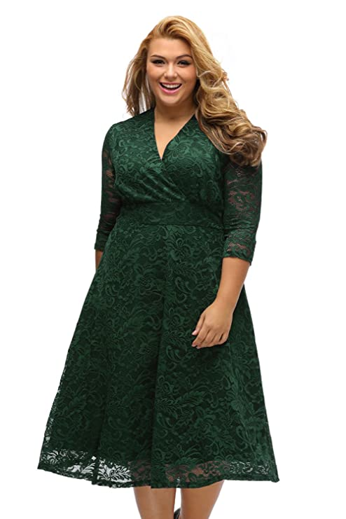 Plus Size Skater Dress - Sexy V Neck Surplice Lace Midi Dress at Amazon Womens Clothing store: