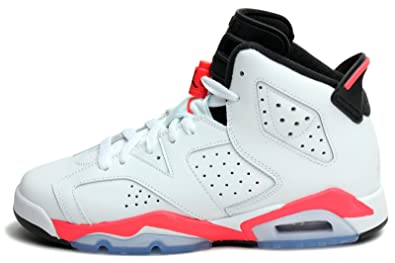 Nike Big Boys' Air Jordan 6 Retro White Leather Trainer Shoes ...