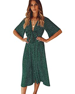 8f6658014a54 SOLERSUN Women's V Neck Polka Dot Loose Swing Casual Summer Tie Front Midi  Dress