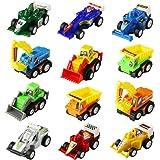 Yi Da 12 Pcs Mini Coche de Retroceso Vehículos Modelo Camiones Cavador Bulldozers Carros de Carreras Piso Juego de Juguete Coches para Niños (Color Diferente)