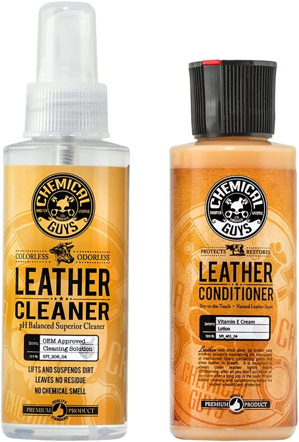 Chemical Guys Leather Cleaner and Conditioner Complete Leather Care Kit (4 oz) (2 Items)