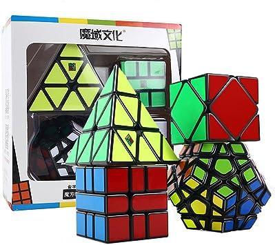 HJXDtech® Moyu Paquete de 4 Cubos mágicos Paquete de Megaminx Pyraminx SQ-1 y Skewb Juego de Cubos mágicos Irregulares Muth de Velocidad Negra con Envoltura de Regalo: Amazon.es: Juguetes y juegos