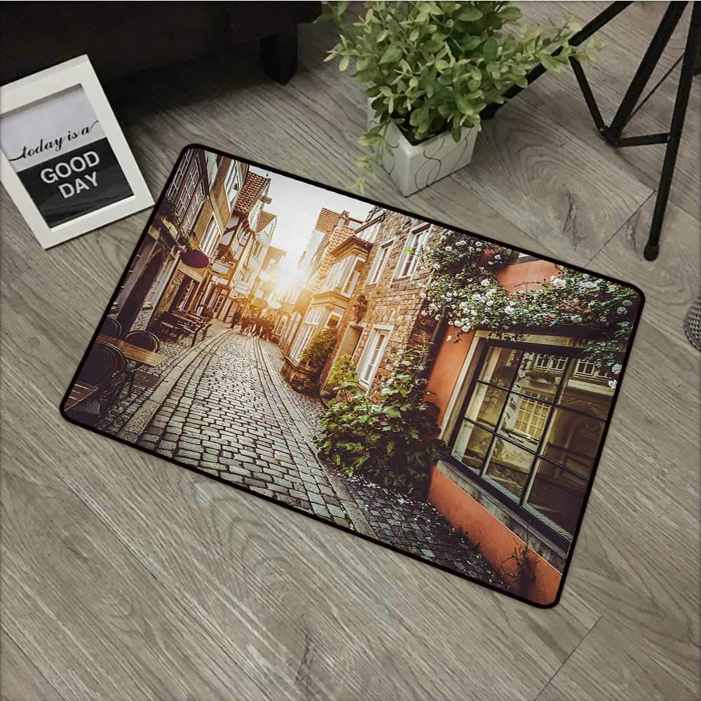 Moses Whitehead Patio All-Weather mat City,Old Town Photography Europe Scenes Vintage Buildings Cafes Cool Architecture,Brown Pale Orange,XL Jumbo, No Phthalate, Water Resistant, 30''x39'' by Moses Whitehead