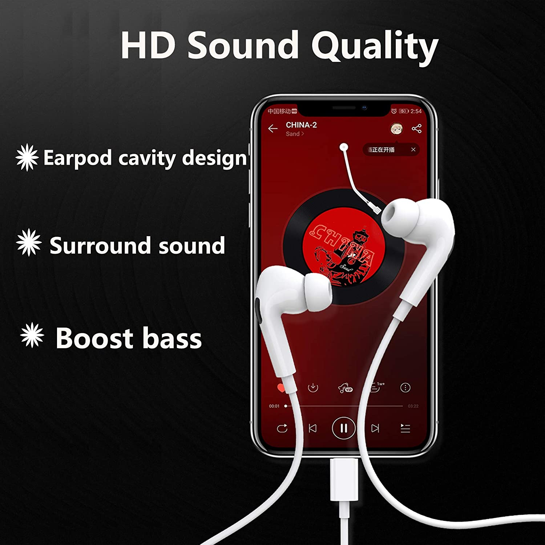 HiFi Stereo kopfh/örer mit Mikrofon und Lautst/ärkeregler In-Ear-Kopfh/örer f/ür iPhone Kopfh/örer kompatibel mit iPhone 7//7 Plus//8//8 Plus//XS Max//XS//XR//11//11 Pro Max//SE