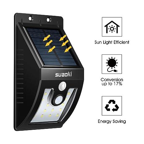 Suaoki - 16 LED Lámpara Solar Foco Recargable Desmontable con Sensor Movimiento Encendido/apagado automático, Exterior de Camino, Jardín, Patio, etc. ...