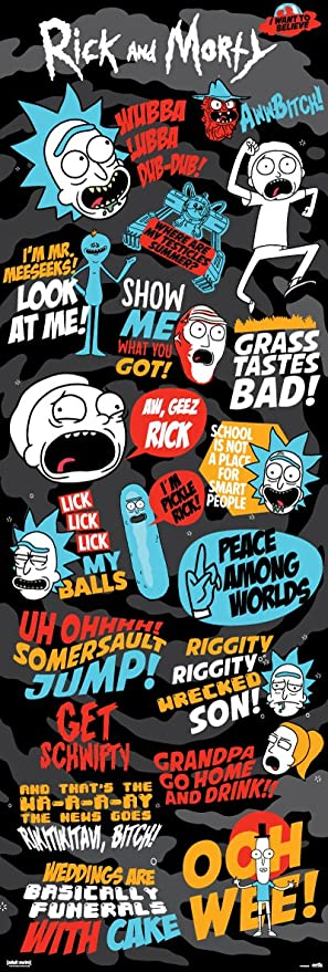 Amazon.com: ERIK Door Poster Rick & Morty Quotes 53 x 158 cm ...