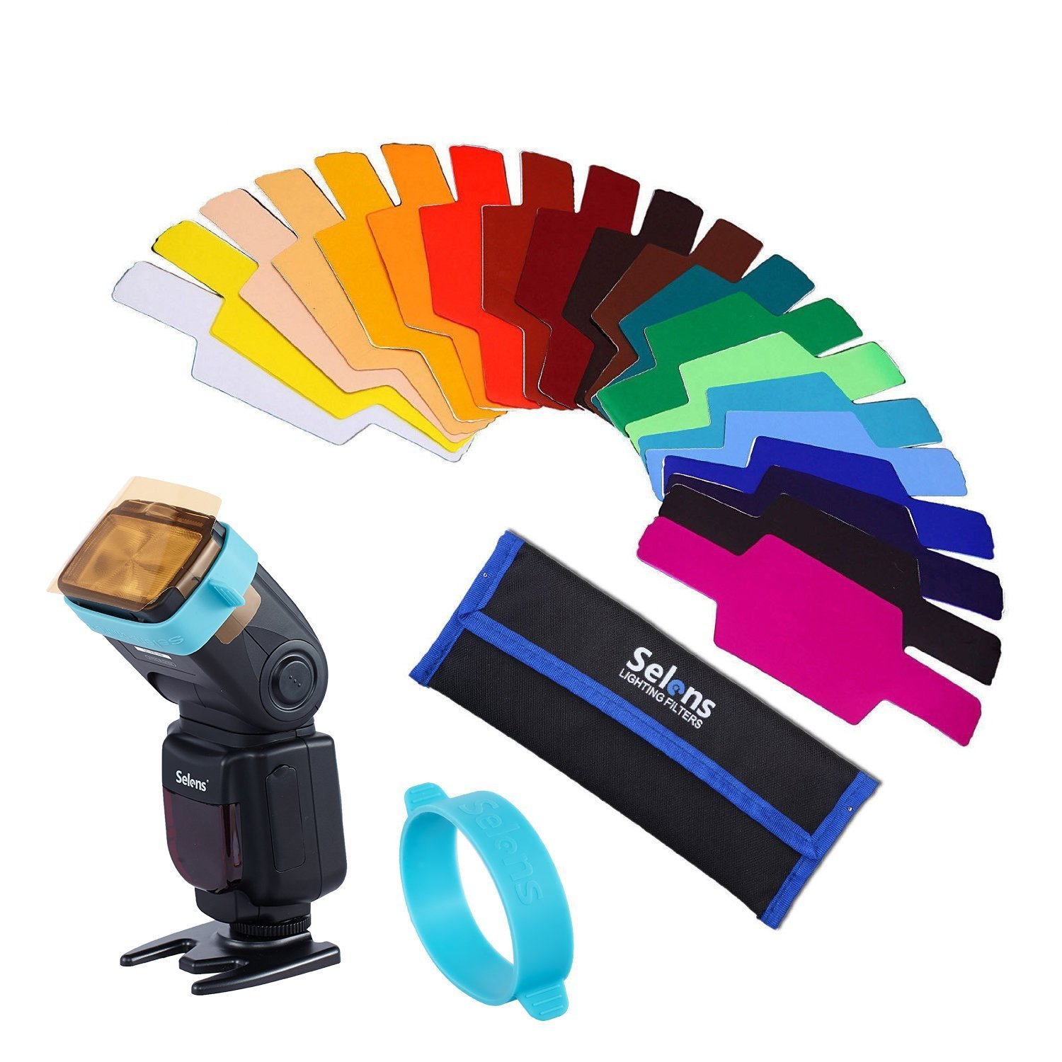 Selens Universal Flash Gels Lighting Filter - Combination Kits for Camera Flashlight (with Two Extra New Gels Bands) HengMing 2 gel-bands kit