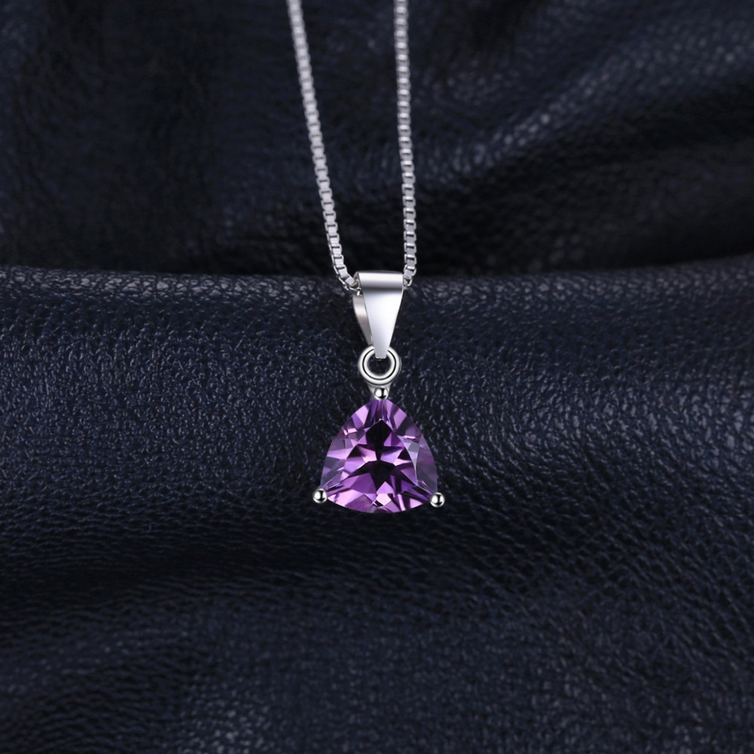 CS-DB Pendants 1.6ct Amethyst Birthstone Solitaire Silver Necklaces