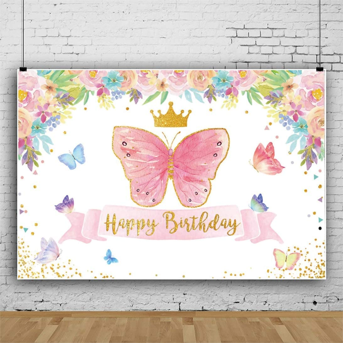 YEELE 10x8ft Butterfly Theme Birthday Backdrop for Girls Pastel Color Flowers Photography Background Newborn Infant Baby Portrait Dessert Table Room Decoration Photobooth Props Digital Wallpaper