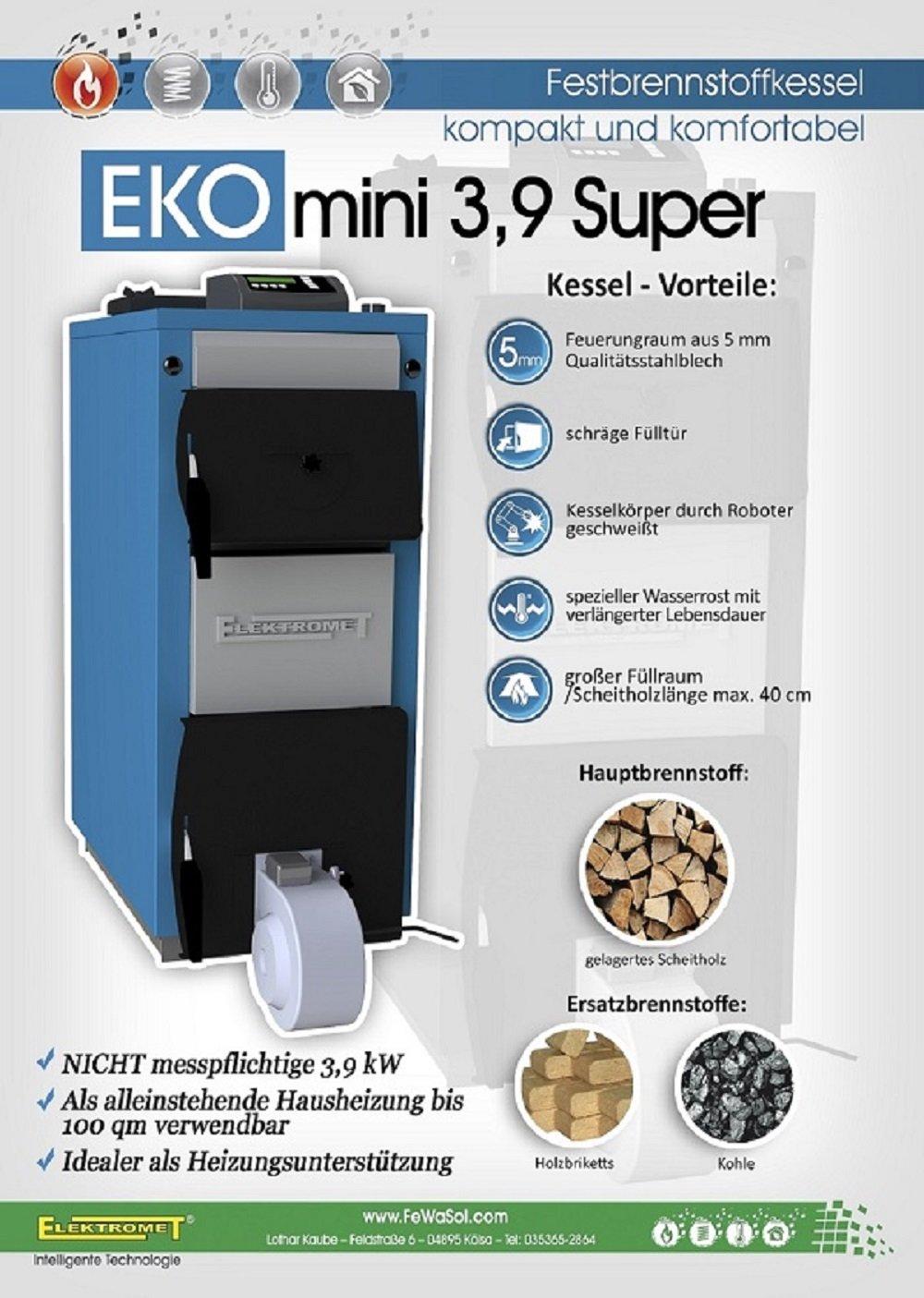 Elektromet ECO-Mini-Super 3,9 kW Stahlblech Festbrennstoffkessel