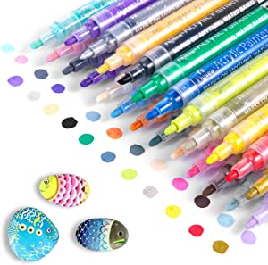 Acrylic Paint Marker Pens, Waterproof Paint Pens for Rocks Painting, Ceramic, Glass, Wood, Fabric, Canvas, Mugs, DIY Craft Making Supplies, Scrapbooking Craft, Card Making (24colors)