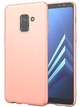 EIISSION Funda Compatible con Samsung Galaxy A8 2018 Funda,Carcasa ToughShell Funda táctil Funda Mate Funda Duro y Flexible Carcasa (Oro Rosa)
