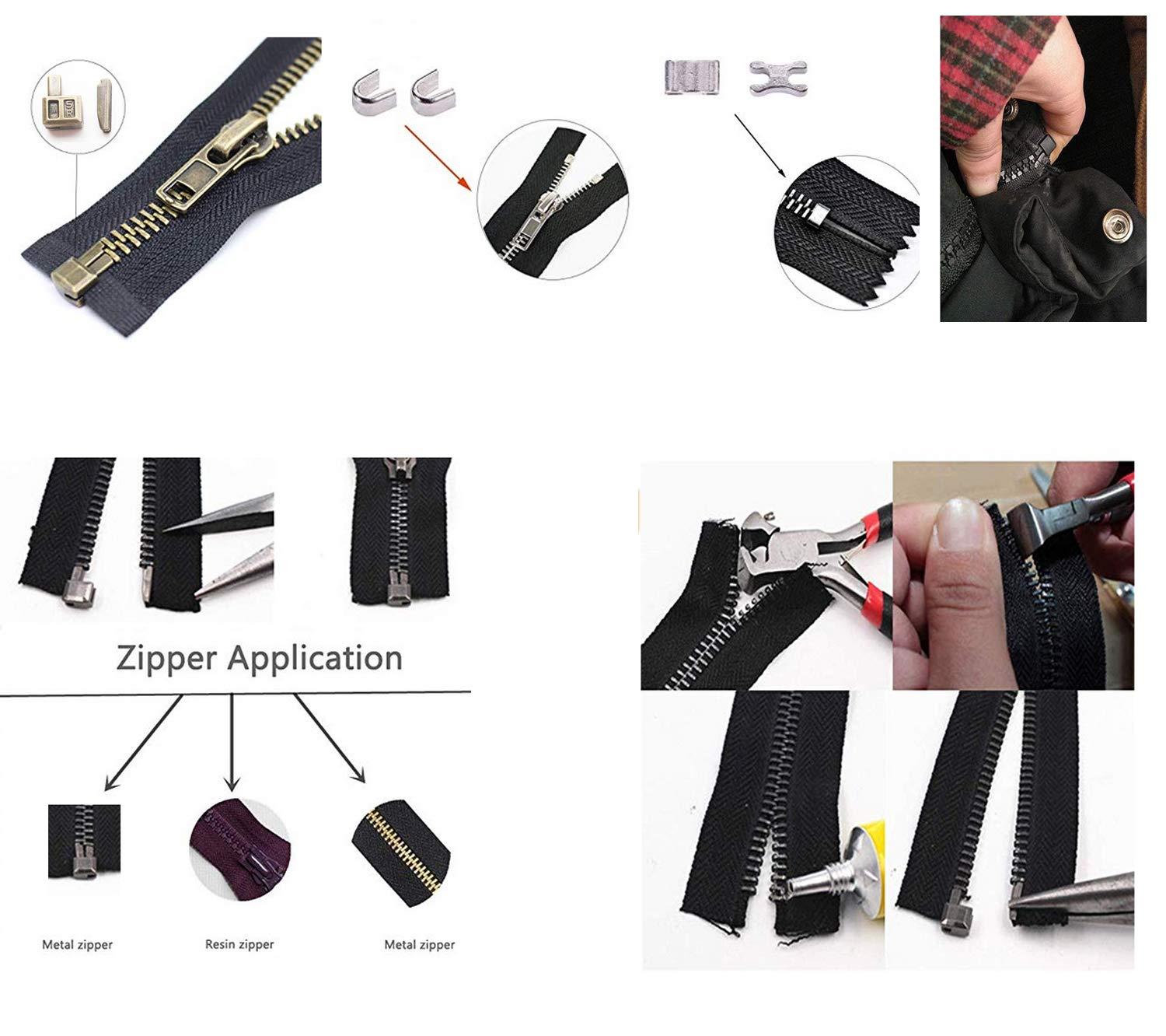 Kit di Riparazione Argento MYIW 20 Pezzi # 5 Chiusura Lampo in Testa Box cursori Cerniera Fermo Inserimento Pin Facile per Riparazione con Cerniera