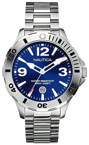 Nautica A14545G - Reloj analógico de cuarzo para hombre con correa de acero inoxidable, color