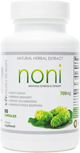 Noni Capsules 700mg Morinda citrifolia Extract Pills Promotes Healthier Skin, Hair, and Nails Potent Natural Antioxidant VH Nutrition 30 Day Supply