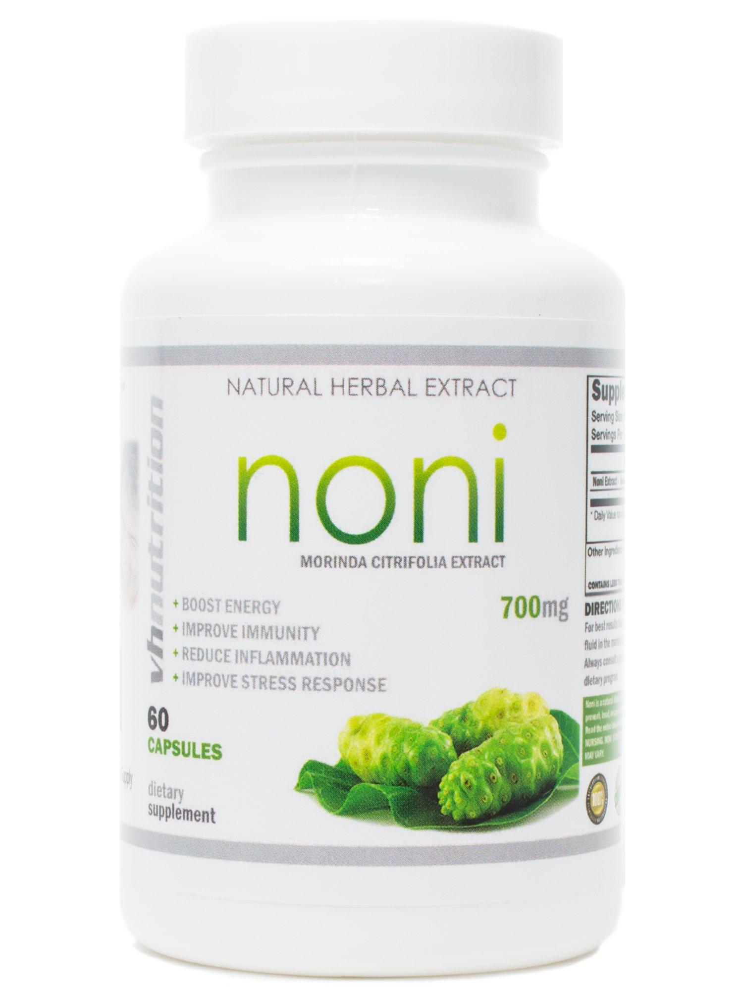 Noni Capsules | 700mg Morinda citrifolia Extract Pills | 60 Day Supply