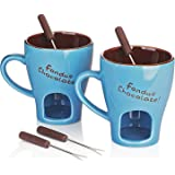DOWAN Chocolate Fondue Mug Set - Portable Melting Pot for Cheese, Personal Mini Fondue Pot with Handle, 8oz Stoneware Fondue Pot Set of 2, Blue