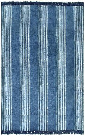 XINGLIEU Alfombra Kilim de algodón 120 x 180 cm con Motivos Azules Moderna Alfombra salón Alfombra salón Moderno: Amazon.es: Hogar