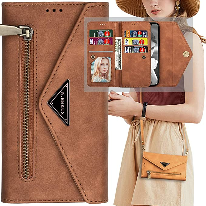 AIFENGCASE Compatible with Samsung Galaxy S20 Ultra Phone Case,Wallet Case for Women Men Girls,Wristlets Clutch Zipper Leather Pouch Wallet Flip Case Card Holder Magnetic Detachable Back Cover,Brown