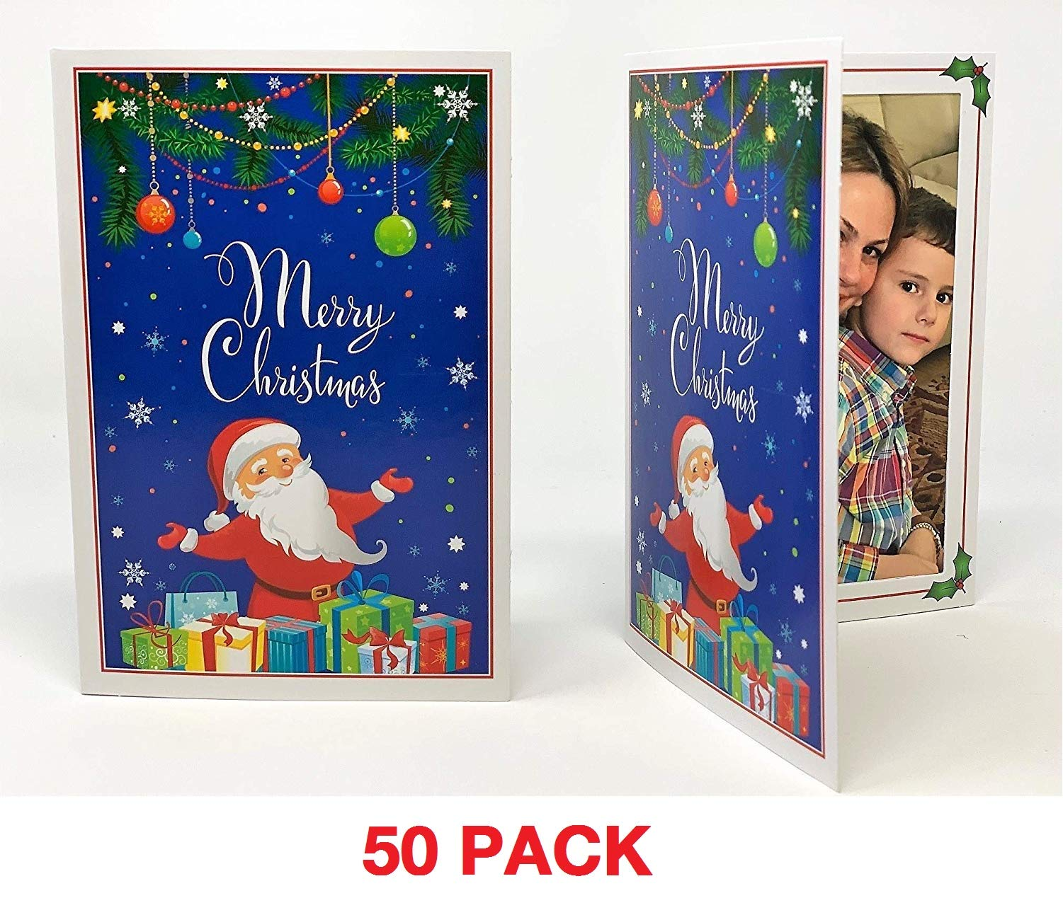 Santa Claus 4x6 Photo Folder - Pack of 50 folders (Slide-in Insert Type). These Beautiful Holiday Photo folders are Great for Christmas Parties and Santa Portraits! by Eventprinters