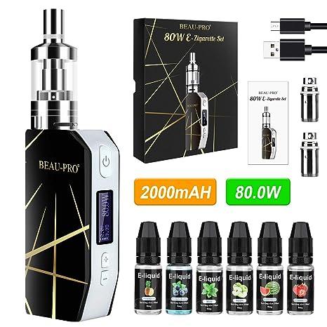 Cigarrillo Electronico de Vapor sin Nicotina Vaper Kit Cigarro Electronico Vaporizador kit completo-80W/2000mAh Batería con 6x10ml de Elíquido, 3m ...