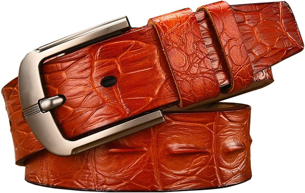 41-49inch, Brown Hello My Life/&Apparel Mens Crocodile-Simulated Black//Brown//Coffee Leather Belt for Pin Buckle,41-49inch