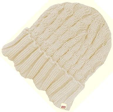 d80c92f36ede3 Levi Strauss Co Levi s Ladies Turn Up Knit Beanie Hat Cream  Amazon ...