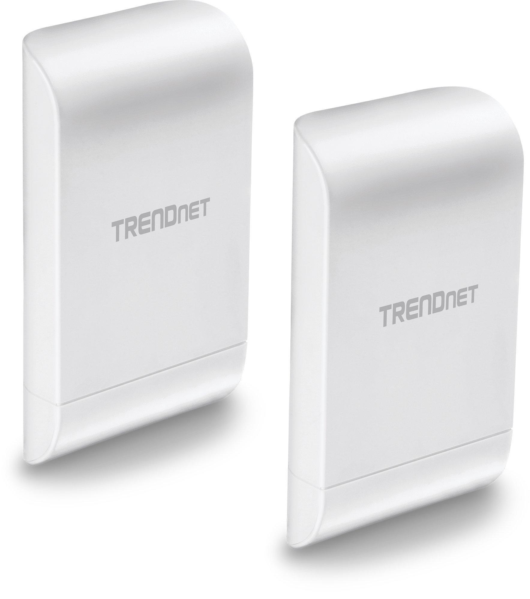 TRENDnet 10dBi Wireless N300 Outdoor PoE Preconfigured Point-to-Point Bridge Bundle Kit, 2 x Preconfigured Wireless N Access Points, IPX6 Rated Housing, TEW-740APBO2K, White