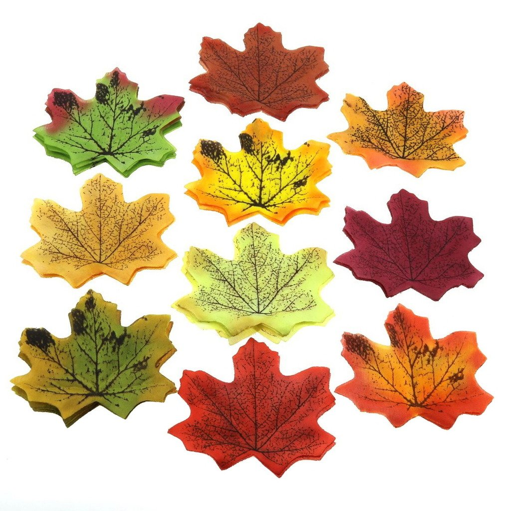 Gresorth Multicolor Fake Flower Fall Leaf Artifical Maple Leaves Bedroom Wall Book Scrapbooking Decoration Craft - 500 PCS