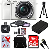 Sony Alpha a6000 White Camera with 16-50mm Power Zoom Lens 64GB Kit - Includes Camera with Lens, Memory Card, Carrying Case, Filter Kit, Battery, Battery Charger, Card Reader, Mini Tripod, and More