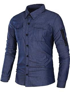 Homme Longue Fit Manche Coton Chemise Col Slim Coofandy Style Denim FqfawI55R
