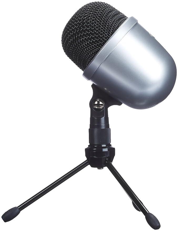 18 opinioni per AmazonBasics- Mini microfono a condensatore da scrivania, Argento