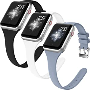 ZALAVER 3 Pack Slim Band Compatible with Apple Watch 38mm 40mm, Soft Silicone Narrow Thin Sport Replacement Wristband for iWatch Series 6/5/4/3/2/1