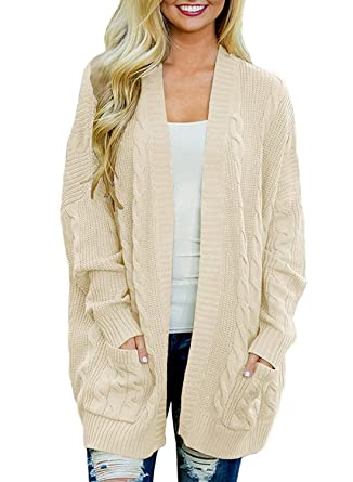 9af584a311 Doballa Women s Chunky Boyfriend Open Front Patch Pockets Long Sleeve Cable  Knit Aran Twisted Cardigan Sweaters