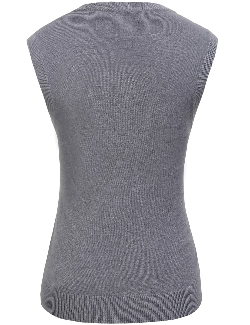 Camii Mia Women's Solid Knit Classic V Neck Sleeveless Pullover Sweater Vest (Large, Grey) by Camii Mia (Image #2)