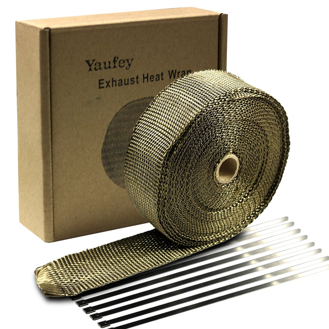 Yaufey Motorcycle Exhaust Wrap, 2'' x 50 Ft Exhaust Header Wrap Tape Header Glass Fiber Wrap Kit for Automotive Motorcycle with 8 Stainless Ties (Titanium)