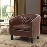 Barrel Accent Chair with Arms Faux Leather Club Chairs Side Chairs Upholstered Tub Chair for Living Room Bedroom,Brown