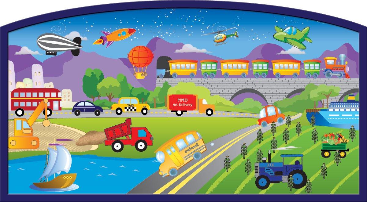 Mona Melisa Designs Baby Crib Mural, Transportation