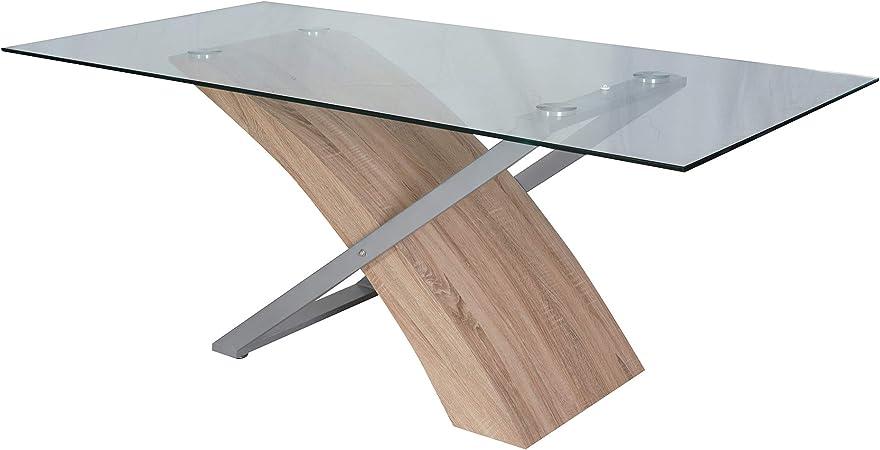 Tavoli Da Pranzo Vetro E Legno.Dmora Moderno 180x90 Cm Legno E Vetro Tavolo Da Pranzo Design
