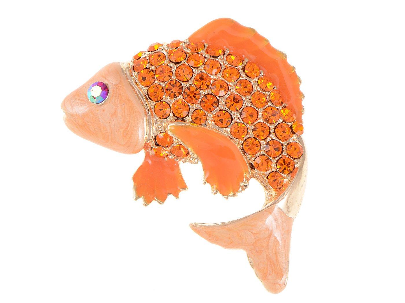 Alilang Lucky Love Koi Gold Fish Carp Golden Tone Enamel Orange Crystal Rhinestone Animal Pin Brooch