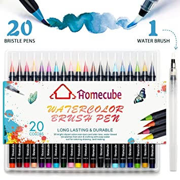 Aquarell Pinselstift-Set, Homecube Brush 20 Farben Pen Set Pinsel ...