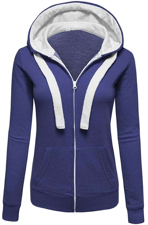 BYBU Women Fashion Drawstring Long Sleeve Cardigan Hooded Sweater 80%OFF