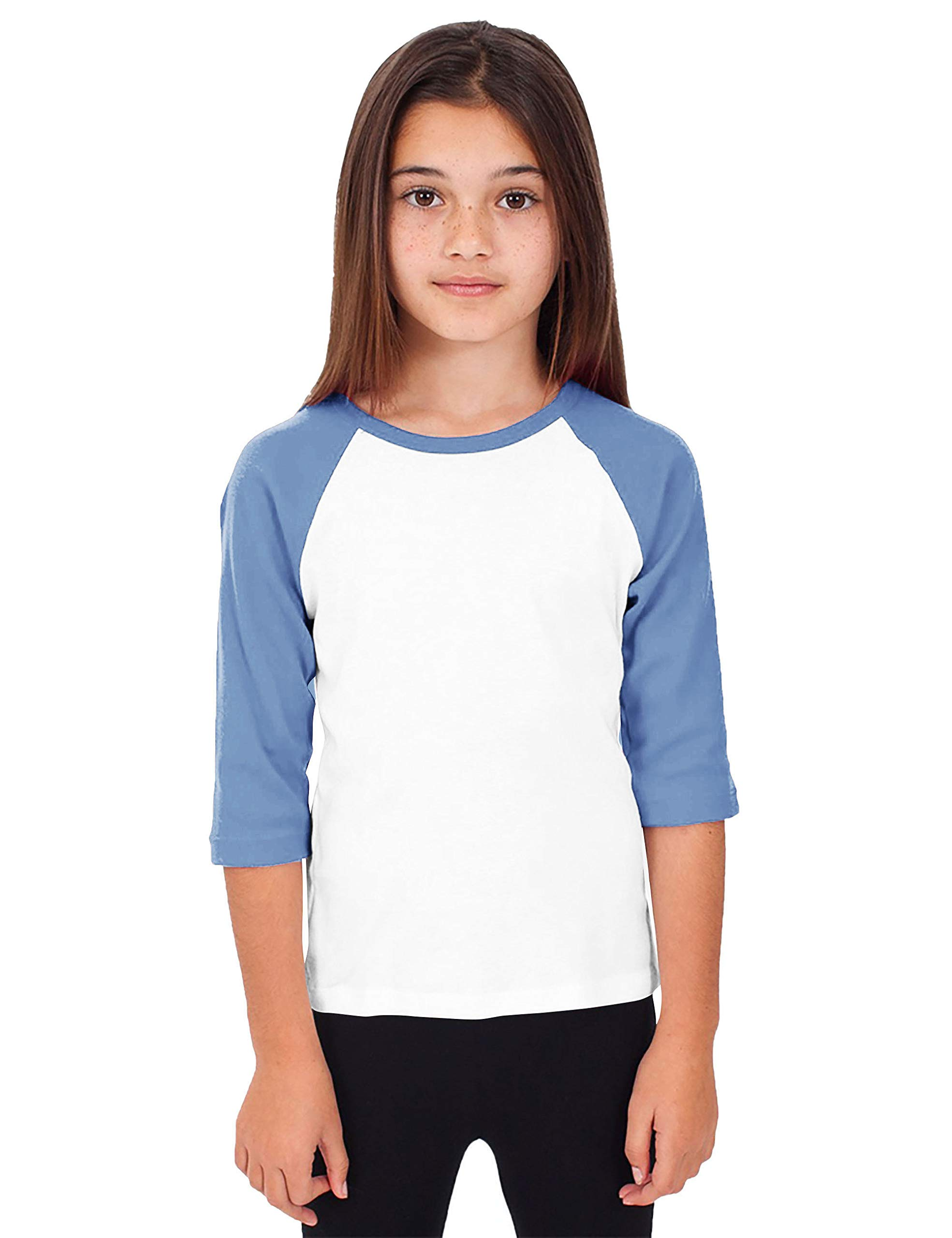 Hat and Beyond Kids Raglan Jersey Child Toddler Youth Uniforms 3/4 Sleeves T Shirts (Small (4-5 Year) (Baby) 5bh03_White/Carolina Blue) by Hat and Beyond
