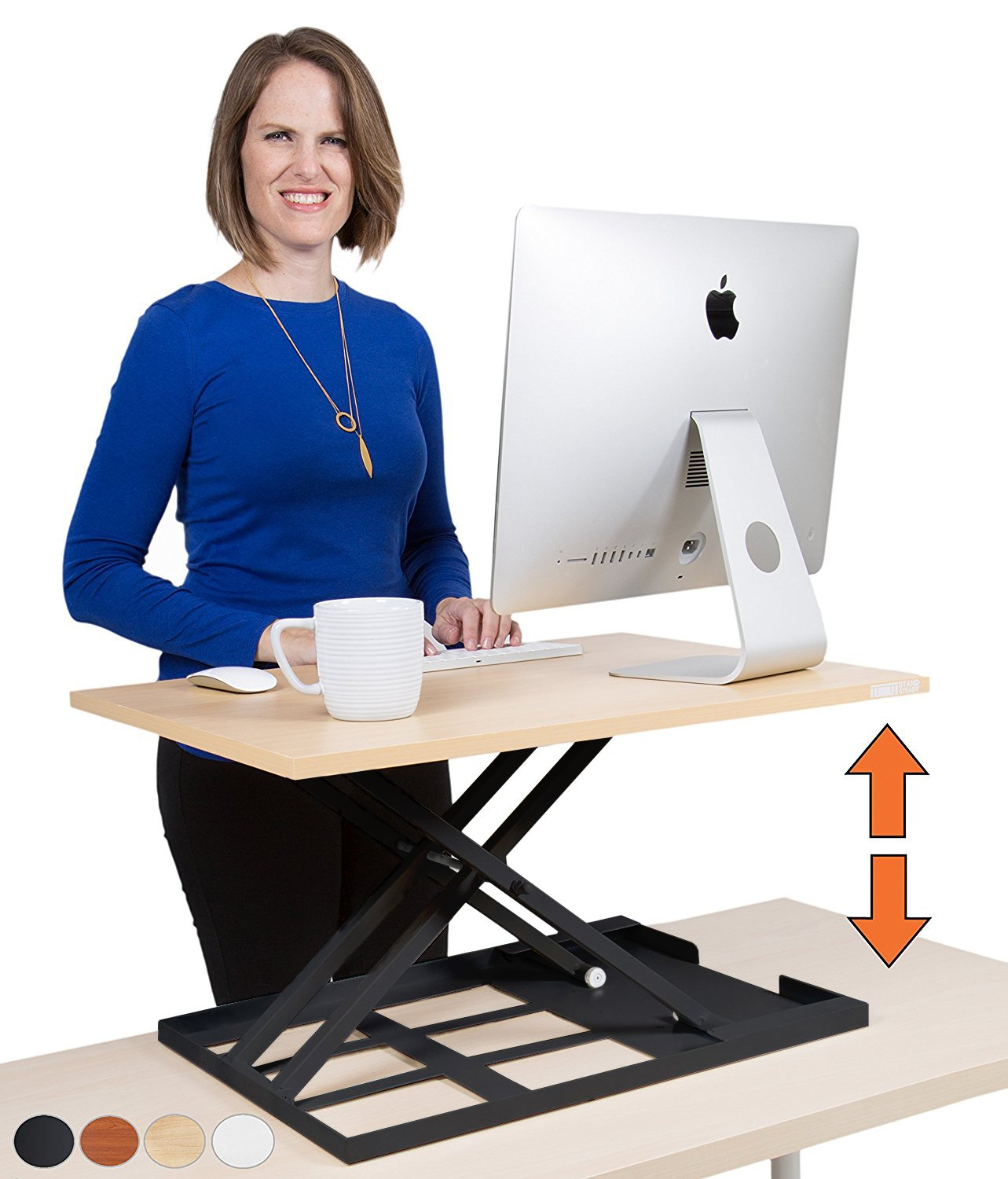 Standing Desk X-Elite - Stand Steady Standing Desk | X-Elite Pro Version, Instantly Convert Any Desk into a Sit/Stand up Desk, Height-Adjustable, Fully Assembled Desk Converter (Maple) (28 inch) by Stand Steady